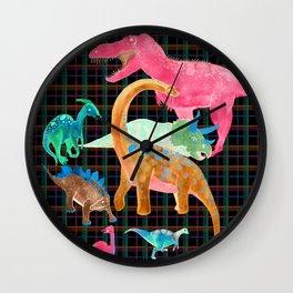 Retro Neon Dino Plaid Wall Clock