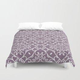 Decorative Floral Pattern 23 - Monsoon Purple, Bon Jour Gray Duvet Cover