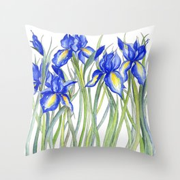 Blue Iris, Illustration Throw Pillow