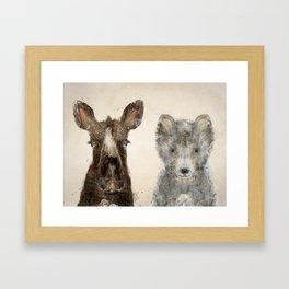 the little wolf and little moose Framed Art Print