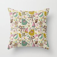 cupcakes Throw Pillows featuring Cupcakes  by Anna Deegan