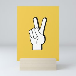 Peace Sign yellow Mini Art Print