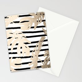 Simply Tropical White Gold Sands Palm Leaves on Stripes Stationery Cards