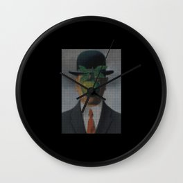 The Son of Man Pixel Art Rene Magritte Wall Clock