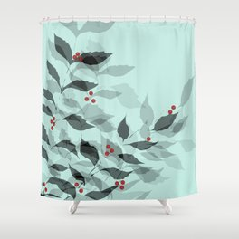 Leaves with Christmas Berries Shower Curtain