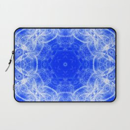 Fractal lace mandala in blue and white Laptop Sleeve