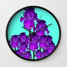 Contemporary Blue &  Purple Iris Garden Art Wall Clock
