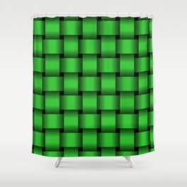 Large Lime Green Weave Shower Curtain