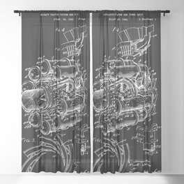 Jet Engine: Frank Whittle Turbojet Engine Patent - White on Black Sheer Curtain
