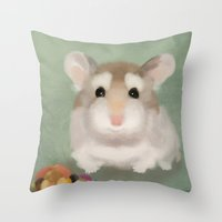 hamster Throw Pillows featuring Harvest Hamster by Visual Condyle