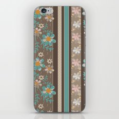 Retro . Turquoise and brown floral pattern . iPhone & iPod Skin