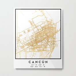 CANCUN MEXICO CITY STREET MAP ART Metal Print