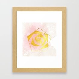 Be Gentle With Me - Soft Pink Gold Geometric Framed Art Print