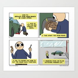 """Drum Brake Tutorial"" - Stuck in Reverse comic Art Print"