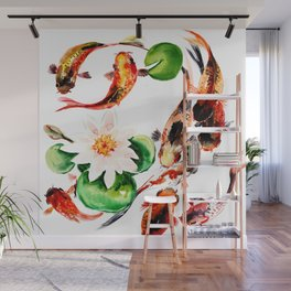 Koi Fish in Pond, Feng Shui Wall Mural