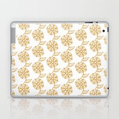 Golden floral on white 2/5 Laptop & iPad Skin