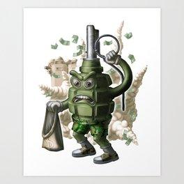 Grenade robber. Art Print