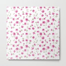 Pink flowers fabric Metal Print