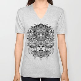 Black And White Geometric pattern mandala lion face Unisex V-Neck