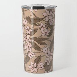 Sakura Branch Pattern - Pale Dogwood + Hazelnut Travel Mug