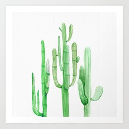 Three Amigos Cacti Green Art Print