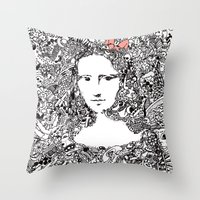 mona lisa Throw Pillows featuring Mona Lisa by Gribouilliz