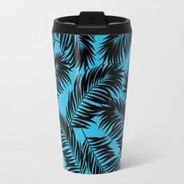 Palm Frond Tropical Décor Leaf Pattern Black on Cyan Vivid Arctic Blue Travel Mug