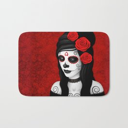 Day of the Dead Sugar Skull Girl with Red Roses Bath Mat