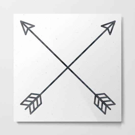 Black Arrows on White Paper Metal Print