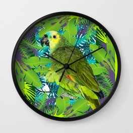 DECORATIVE GREEN PARROT JUNGLE GRAY-GREEN ART Wall Clock