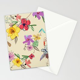 Cute Hand Drawn Vibrant Colored Hibiscus, Iris and Narcissi Flower Pattern Stationery Cards