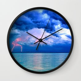 Majestic Rain Pink Lightning Wall Clock