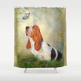 Butterfly Basset Shower Curtain