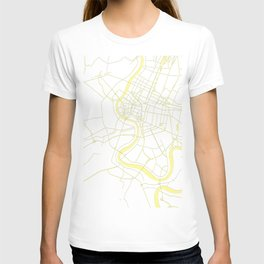 Bangkok Thailand Minimal Street Map - Pastel Yellow and White T-shirt