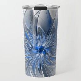 Abstract Art with Blue Travel Mug