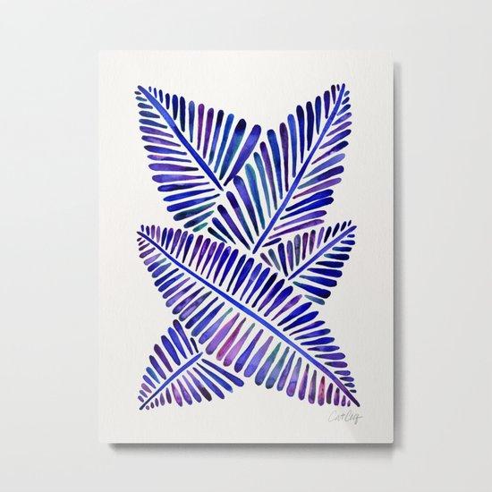 Tropical Banana Leaves – Indigo Palette Metal Print