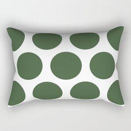 Large Polka Dots: Pine Green Rectangular Pillow