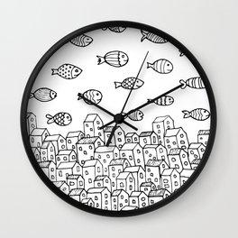 Underwater village Wall Clock