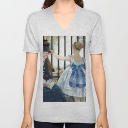 Edouard Manet - Le Chemin de fer (The Railroad) Unisex V-Neck
