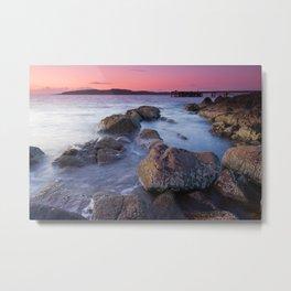 Portencross jetty Sunset Metal Print