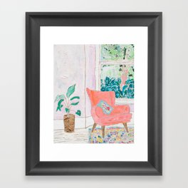 A Room with a View - Pink Armchair by the Window Framed Art Print