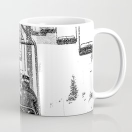 Snow Lift // Ski Chair Lift Colorado Mountains Black and White Snowboarding Vibes Photography Coffee Mug