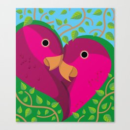 Tropical Lovebirds Canvas Print