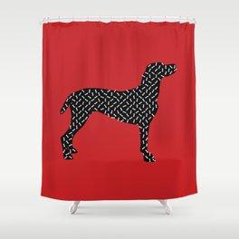the greedy dog Shower Curtain