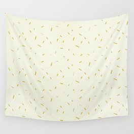Hand painted ivory pink teal yellow gold brushstrokes confetti Wall Tapestry