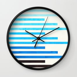 cerulean blue watercolor gouache painting minimalist geometric stripe pattern Wall Clock