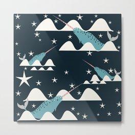 narwhal in ocean blue Metal Print