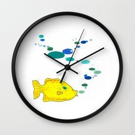 Yellow Fish w/Bubble (Babel Bubble 2) Wall Clock