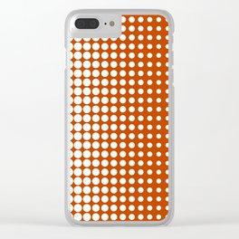 Cool modern techno shrinking polka dots white on mahogany Clear iPhone Case