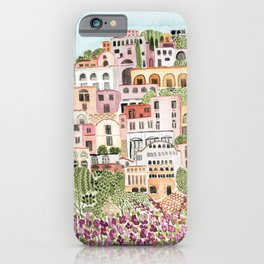 Positano Italy Cityscape Watercolor by Lindsay Brackeen iPhone Case